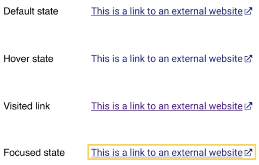 Examples of external link icons