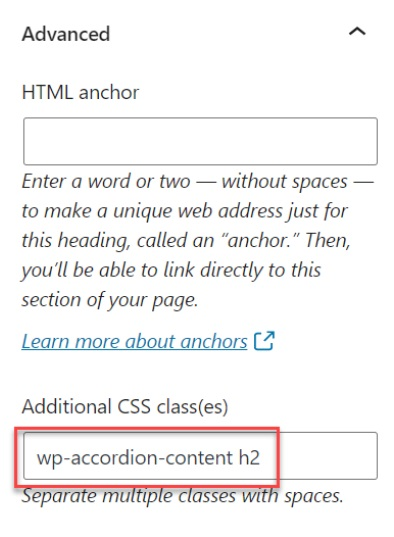Block section in WordPress with header class code