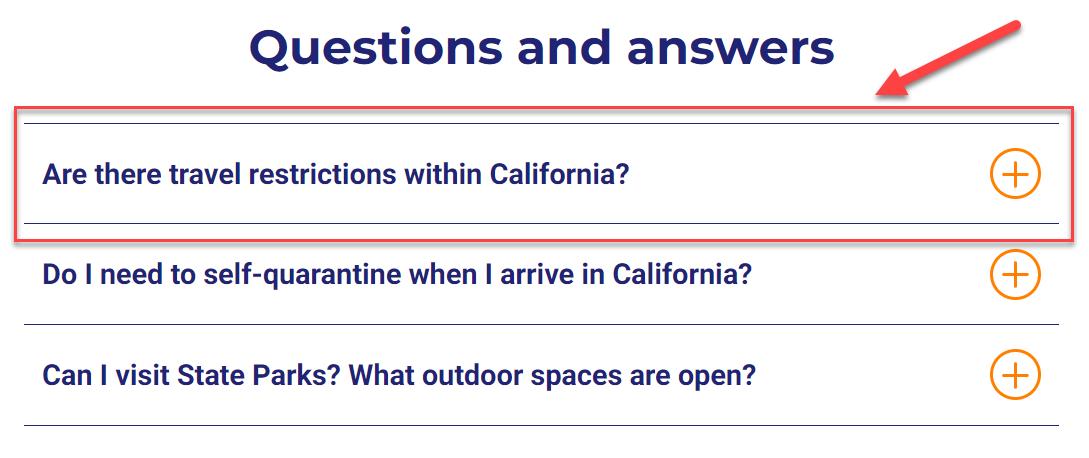 Questions accordion