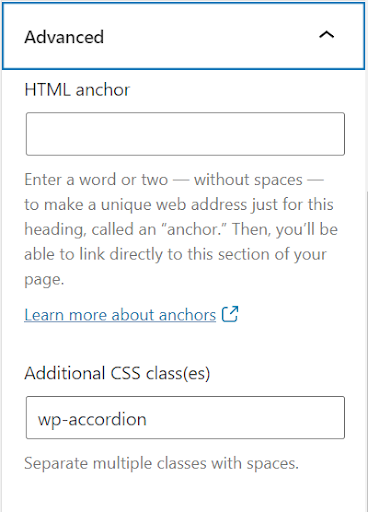 Block section in WordPress with accordion class