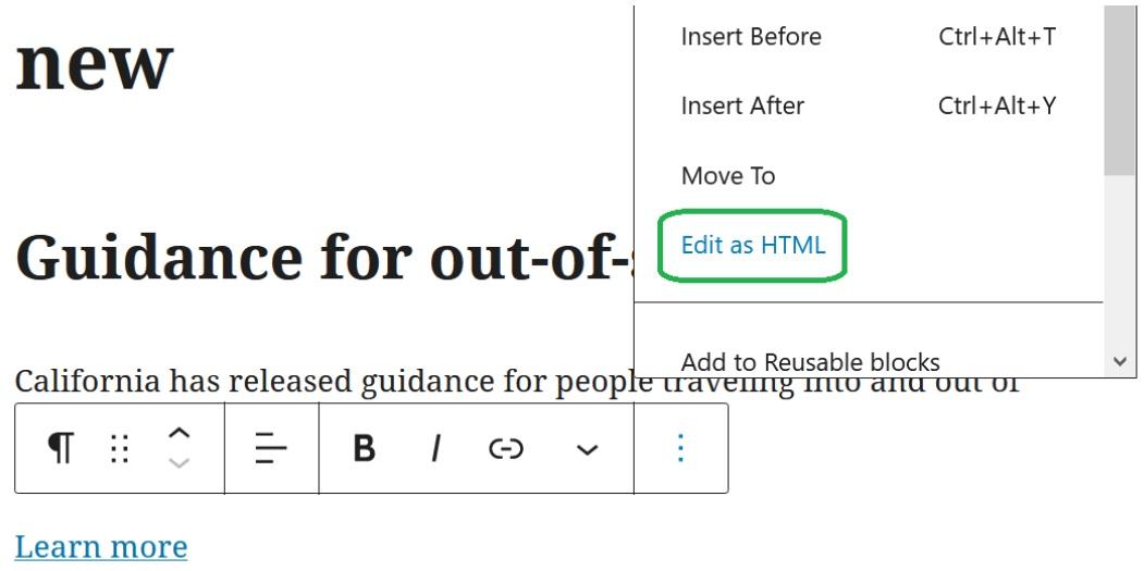 Edit as HTML option in WordPress block dropdown menu
