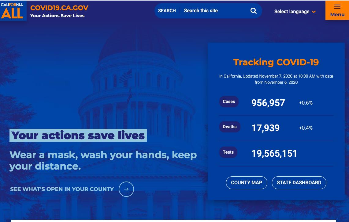 New design of the covid19.ca.gov homepage