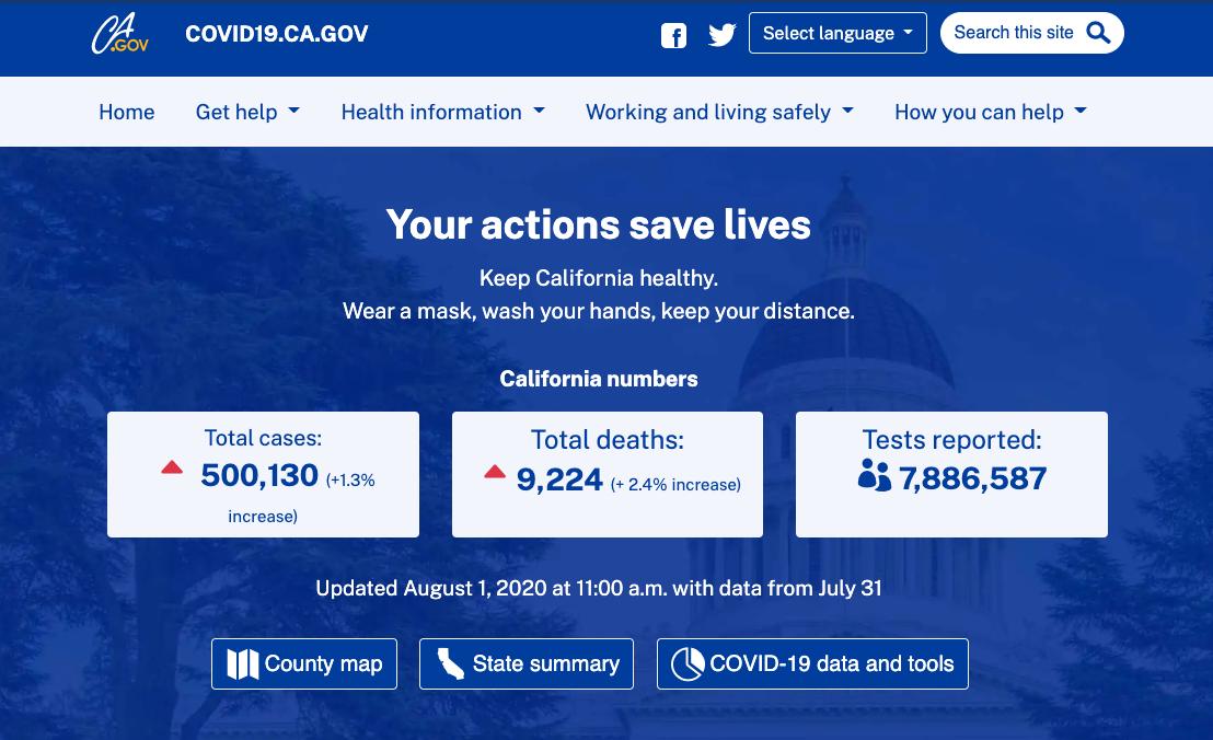 Older version of the covid19.ca.gov homepage